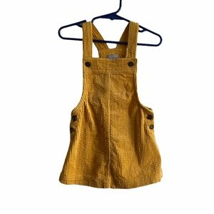 Tahari Mustard Yellow Corduroy Overalls Dress 24M